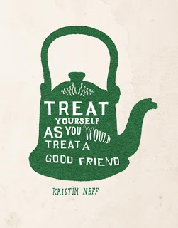"""Watercolor painting of a green tea kettle with the quote by Kristen Neff over it, that says, """"Treat yourself as you would treat a good friend"""""""
